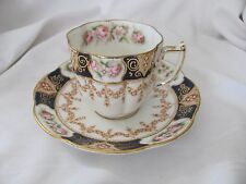 Crown China WLL espresso demitasse cup saucer set gold flowers cobalt blue