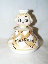Vintage 1950's Chef Pixieware Mustard Jar with Lidded Pixie Chef Spoon