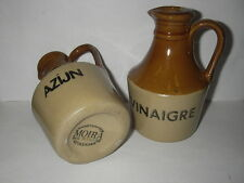 2 handcrafted made in England Stoneware little bottles for vinegar - Moira