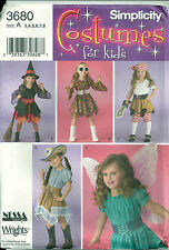Simplicity Sewing Pattern 3680 Halloween Costumes Witch Fairy Pirate Girl's 7-8