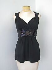 White House Black Market Stretchy Knit Cami Tank Top Wide Sequin Waist Tieback S