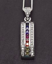 Sterling Silver Deco MultiColor Rainbow Drop Princess Sapphire Pendant Necklace