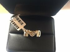 Harley Davidson .925 Silver H-D Initial Heart Ring