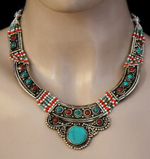 HANDMADE STERLING SILVER NECKLACE TIBETAN CORAL TURQUOISE JEWELRY UDD7