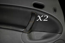 BEIGE STITCH FITS SAAB 95 9-5  2X REAR LEATHER DOOR HANDLE COVERS 1997-2005