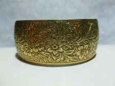 LARGE GOLD FINISH DANECRAFT STERLING SILVER MODERN FLORAL FLOWER CUFF BRACELET
