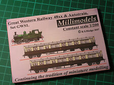 Millimodels GWS1 set Great Western 48xx 0-4-2T and two autocoaches 1/200 scale