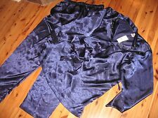 NEW WOMENS L PRIVATE LUXURIES POLYESTER PAJAMAS PANTS SHIRT NAVY BLUE