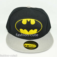 New DC Grey Black Kids Children Unisex Snapback Batman Hat cap flat baseball