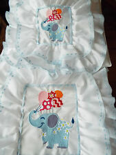NEW- Dolls,Embroidered-Elephan with Balloons Motif, Bedding Set - cot/pram/bed.
