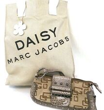 GUESS Marc Jacobs Daisy Lot of 2 Women's Brown Snakeskin Clutch & Gold Tote Bag