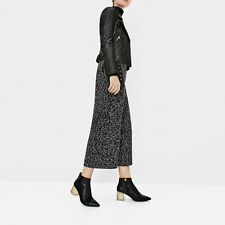 ZARA LEATHER ANKLE BOOT WITH TRANSPARENT METHACRYLATE HEEL BLACK SIZE 9