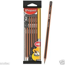 MAPED BLACK PEPS GRAPHITE PENCILS PACK OF 6 HB 2 WITHOUT ERASER