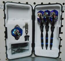 Darts Viper 16 gm Black Ice Blue Ring Wolf Flights Soft Tip Dart Set SHORT Tips