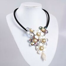 ss14606 Mother of Pearl MOP shell glass crystal flower adjustable necklace