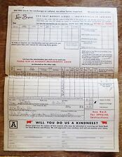 1950s Lane Bryant Store Clothing Form Mail Order Blank Measurement Chart Used