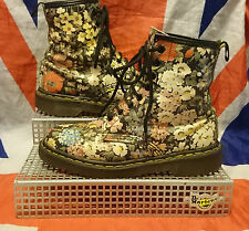 Rare*England Made*90s Vintage Black Floral Dr Doc Martens*Hippy Meadow Flowers*5