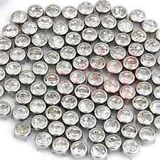 "100 Silver Metal 0.28"" Leathercraft White Crystal Round Stud Spots Spikes Punk"