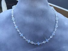 Clear Czech Glass Beads Handmade Necklace w/ Cloudy Crystal and Silver Spacers