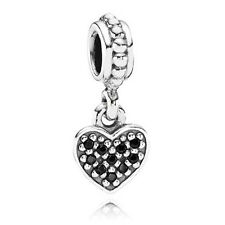 Genuine Pandora Silver and Clear Pave Heart Pendant Charm 791023NCK