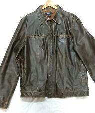 Men's GAP Brown Leather Rugged Distressed Jacket Sz M