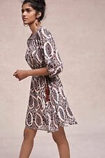 NWT SZ S SMALL ANTHROPOLOGIE ZHARAH PEASANT DRESS BY FLOREAT A-LINE PRINTED BOHO