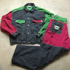 90s VTG CROSS COLOURS Jeans Jacket Pants Set COLORBLOCK Hip Hop Colors 36 Denim