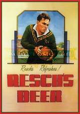 Reschs tooths rugby print classic retro beer premium 250gsm satin poster