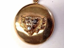 Lions Head Antique Victorian Mine Cut Diamond 14K Yellow Gold Locket Pendant