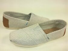 TOMS MEN'S CLASSICS SLIP ON FLAT CANVAS SHOES, LIGHT GREY WEAVE, US SIZE 11, NEW