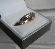 Welsh Rose & Yellow Gold Celtic Weave Ring h/m year 1998 Cymru Y Metel  - size M