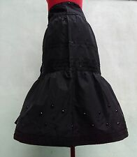 PHILOSOPHY Di Alberta Ferretti Black Silk Sequin Rhinestone Tiered Midi-Skirt 6