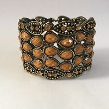 BROWN ANTIQUE GOLD CUFF BANGLE BRACELET COSTUME JEWELLERY CRYSTAL NEW GIFT