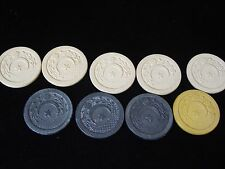 9 Vintage Clay Star & Crescent Moon Embossed Gambling Chip 5 White 1 Tan 3 Black