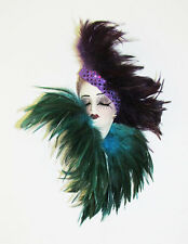 Unique Creations Small Art Deco Lady Face Mask Wall Hanging Decor Purple Teal