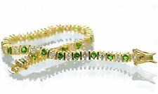 "Gold Over Solid 925 Sterling Silver Green & Clear CZ Tennis Bracelet 7"" L '"