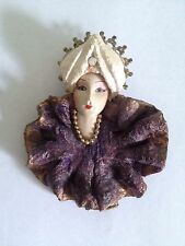 Lady Face Resin Porcelain-look Brooch Pin