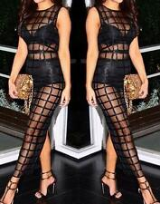 NEW WOMENS HOT-CHIC SLEEVELESS BLACK CAGED MESH LONG MAXI SEXY DRESS 60736