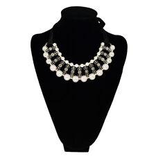 Elegant Pearl & Rhinestones w/Satin Ribbon Bib Statement Necklace- Diff. Colors