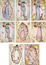 Vintage Jane Austen pink blue gowns roses note cards tags ATC set of 8