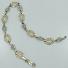 "Nice 14K Y & W Gold Etched Diamond Cut Oval Round 7.5mm 7.25"" Inch Bracelet B69"