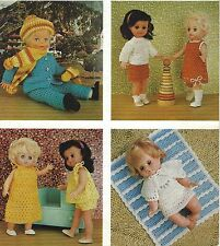 "Baby Doll Crochet Patterns Dress, Skirt, Jumper, Blanket, four sets 12-20"" 729"