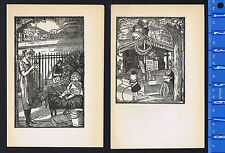 WOOD CUTS: Children in Park at Flower & Toy Stalls 1920 by SIMEON