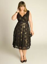BRAND NEW IGIGI PLUS SIZE LEIGH LACE DRESS IN GOLD & BLACK SIZE 18/20