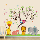 wall stickers jungle zoo monkey tree owl birds decals decor vinyl baby animal