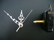 CLOCK MECHANISM QUARTZ EXTRA LONG  SPINDLE. 76mm SILVER HANDS