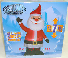 7Ft Gemmy Airblown Inflatable Lighted Waving Standing Santa Christmas Balloon
