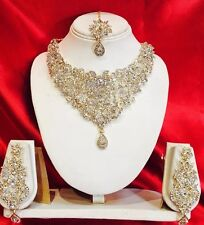 Bollywood Indian Bridal Necklace Earrings Tikka Jewellery Set EID Gold  White Cz