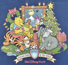 Walt Disney World 2000 Merriest Christmas Tee Shirt Large Winnie Pooh *FLAW* B8