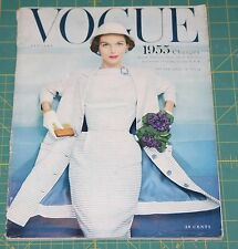 January Vogue 1955 Rare Vintage Vanity Fair Fashion Design Collection Magazine